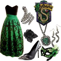 Slytherin Masquerade by princesschandler on Polyvore featuring Kelsi Dagger Brooklyn, NLY Accessories, Masquerade, slytherin and harry potter