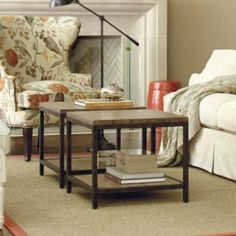 """Durham Bunching Table - ballard designs  Dimensions: Overall: 19""""H X 22"""" Squared Between Shelves: 12 3/4""""H Construction: Frame is made of metal with a parawood planked top. Country of Origin: China"""