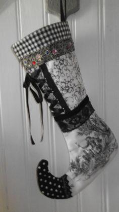 Nikolaus-Stiefel schwarz /weiß Unikate von Stoffwerkdesign auf Etsy
