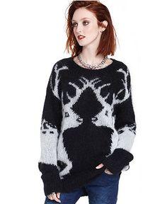 Bar III Sweater, Long-Sleeve Scoop-Neck Reindeer - Sweaters - Women - Macy's
