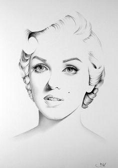 Porträtgemälde von Marilyn Monroe Bleistift Zeichnung Signed Print