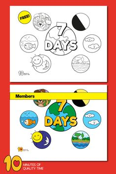 7 DAYS OF CREATION Song + FREE Coloring Page + Poster Monkey Coloring Pages, Penguin Coloring Pages, Elephant Coloring Page, Free Coloring Pages, Easy Arts And Crafts, Crafts To Do, 7 Days Of Creation, Bible Activities For Kids, Catechism