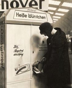 furtho:  Woman at a sausage vending machine, Germany, 1931 (via visualhistory)