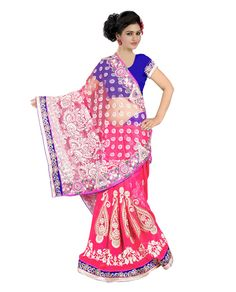 Saree Colour : Pink Blouse Colour : Blue Collection : KSS102 Saree Fabric : Pallu Brasso + Weightless  Blouse Fabric : Dhupian Saree Length : 5 Meter Blouse Length : 0.90 Cm Ptticoat : Not Available Stitching: Un_Stitched Work : Embroidered Style : New Arrival Saree