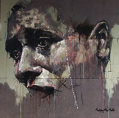 """""""Halabja"""" - Guy Denning, 2009, oil on canvas {contemporary expressionist artist abstract male man portrait painting} Sadness!!"""