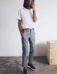 Love the mesh of formal and casual. I would add even more snazz buy clashing feminine and masculine pieces/acessories (button down shirt?)
