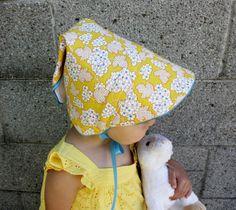 Adjustable Vintage Style Baby Sun Bonnet Yellow by poppycoxkids