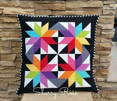 Beautiful @AccuQuilt LeMoyne Star pillow created with GO! LeMoyne Star die by Sherry Rose!