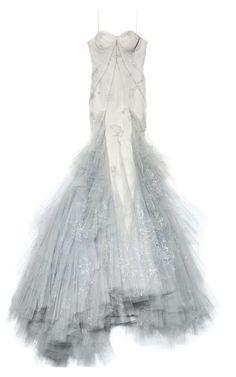 Hand Painted Tulle Strapless Ruffle Skirt Gown by Zac Posen - Moda Operandi