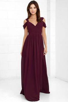 Youll be the hit of any dance floor in the Make Me Move Burgundy Maxi Dress! Double shoulder straps lead into a gathered surplice bodice with a sweetheart neckline. Pleated empire waist flows into an elegant woven maxi skirt. Hidden back zipper with clasp.