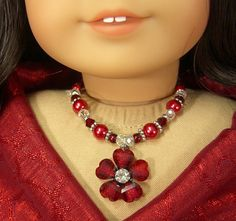 DEEP RED Glass Pearls and Flower Pendant by idreamofjeannemarie American Girl Diy, American Girl Clothes, Girl Doll Clothes, Ag Dolls, Girl Dolls, Pearl Necklace, Pendant Necklace, Doll Outfits, Doll Crafts