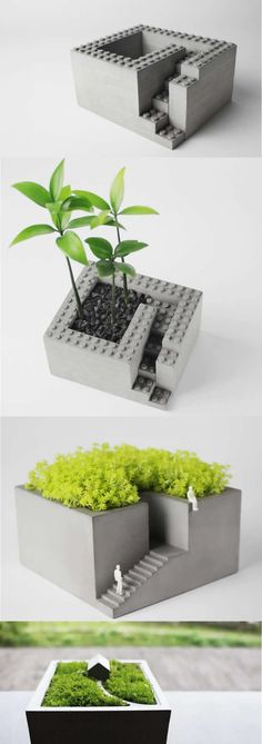 Concrete Architectural Square Succulent Planter Plant Pot Flower Pot