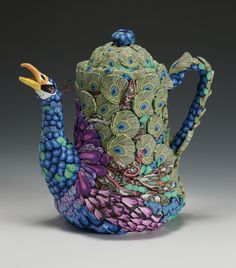 Polymer Clay Teapot by Layl McDill  www.claysquared.com
