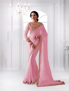 Light Pink Party Wear Georgette Indian Sarees ,Indian Dresses