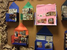 DIscuss, read about, and then make inside of homes using magazine clippings. Can tie to dramatic play too. During their building study, the Pre-K children at Sunshine House 113 in Charlotte, NC build their own houses with boxes and pictures. Creative Curriculum Preschool, Preschool Classroom, Preschool Crafts, Pre K Activities, Educational Activities, Reggio, Home Themes, Family Theme, Construction Theme