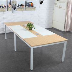 Popular elegant design meeting room furniture small conference table with metal legs