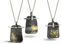 """Opaque Air Pendants. Oxidized sterling with 23K gold foil Keum boo. 1 3/8"""" l x 1 1/8""""w on a 1mm sterling cable chain adjustable 16-18"""" length with your choice of leaf, left to right: fern, gingko or stamen $125"""