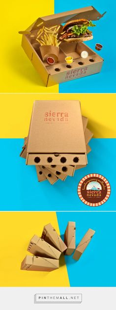 Sierra Nevada Hamburger - Delivery on Packaging of the World - Creative Package Design Gallery - created on Fastfood Packaging, Burger Packaging, Takeaway Packaging, Craft Packaging, Food Packaging Design, Comida Delivery, Burger Delivery, Food Business Ideas, Chicken Boxes