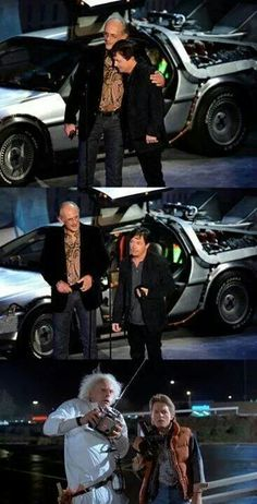 Doc Brown & Marty McFly (Christopher Lloyd & Michael J. Marty Mcfly, Charlie Chaplin, Movies Showing, Movies And Tv Shows, Friends Reunited, Science Fiction, Doc Brown, Michael J Fox, Bttf