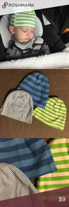 3 Striped Baby Hats 0-6 months Excellent preloved condition. Three very soft and stretchy baby hats. Fit my son until 5 months. He is 4 months in the pic. No low ball offers or trades. Ships within 24 hours. Gerber Accessories Hats