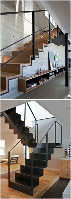 DIY Staircase Design Ideas 4 Times The Stair Decoration Would Make You Feel Amazed - Trend Crafts Interior Stairs, Interior Architecture, Escalier Design, Stair Handrail, Railings, Steel Stairs, Stair Decor, Modern Stairs, House Stairs