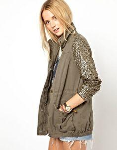 Image 1 ofPrimark Sequin Sleeve Jacket