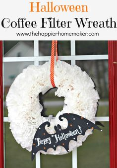 Easy DIY Halloween Coffee Filter Wreath :: Hometalk