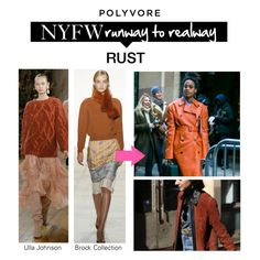 """NYFW Runway to Realway: Rust"" by polyvore-editorial ❤ liked on Polyvore featuring Ulla Johnson, Brock Collection, NYFW and pvnyfw"