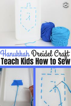 Teach your kids how to sew with this hanukkah sewing craft. This super fun craft for kids is a great way to celebrate Hanukkah and start a yearly family tradition. Diy Projects For Adults, Fun Crafts For Kids, Diy For Kids, Activities For Kids, Learning Activities, Simple Crafts, Winter Activities, Christmas Fun, Holiday Fun
