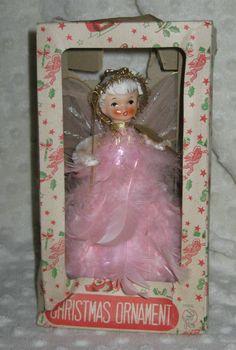 Vintage Christmas Holt Howard Lefton Pink Feather Angel Valentine Tree topper
