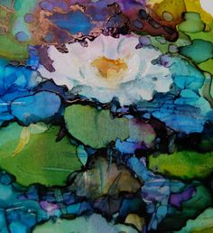 alcohol ink paintings | LILY POND ALCOHOL INK PAINTINGS
