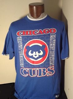 719ebb8df03 EUC Large VINTAGE CHICAGO CUBS Eastern Division Blue Shirt w  Gray bv  STARTER  MLB  ChicagoCubs