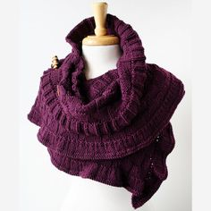 Rococo Hand Knit Shawl  with wood shawl pin - Elena Rosenberg Wearable fiber art