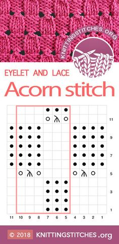 Acorn Eyelet Tip, Top Diagram, Knitting Diagram. Knitting pattern for cardigan, sweater, baby sweate Knitting Stiches, Knitting Books, Knitting Charts, Lace Knitting, Crochet Stitches, Crochet Toys Patterns, Knitting Patterns, Crochet Double, Pull Bebe