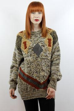 Vintage 90s Graphic Oversized Knit S M L Oversized Sweater Oversized Jumper Brown Sweater Leather Sweater Graphic Sweater