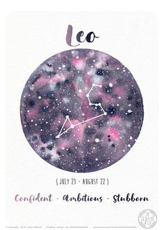 Astrology Card – Zodiac Signs – Leo, Horoscope, Planet Illustration, Constellation drawing, W… - leo constellation tattoo Zodiac Signs Leo Tattoo, Leo Zodiac Facts, Zodiac Art, Zodiac Cancer, Leo Facts, Scorpio Zodiac, Aquarius Constellation Tattoo, Leo Constellation Tattoo, Constellations