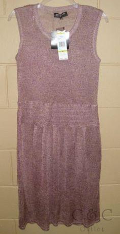Jones New York Montauk Purple Linen Sweater Dress Sleeveless Pleated MEDIUM