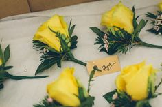 Image by Brett Symes #rockmywedding Yellow Rose Buttonholes www.rockmywedding.co.uk