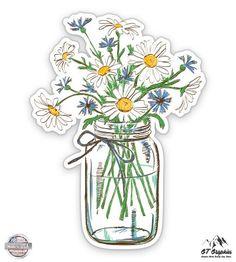 GT Graphics Flower Bouquet Watercolor Art Vinyl Sticker Waterproof Decal