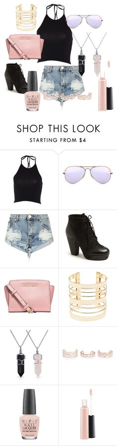 """Untitled #2"" by oceanneli ❤ liked on Polyvore featuring Ray-Ban, One Teaspoon, Steve Madden, MICHAEL Michael Kors, Charlotte Russe, Bling Jewelry, New Look, OPI and MAC Cosmetics"