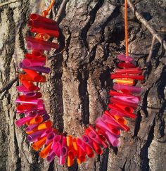 Necklace made from color straws!