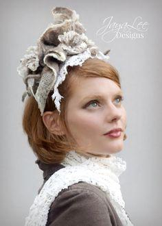 Rustic Nuno Felt Lace & Wool Headdress by Jaya Lee Designs  Elegant, earthy…