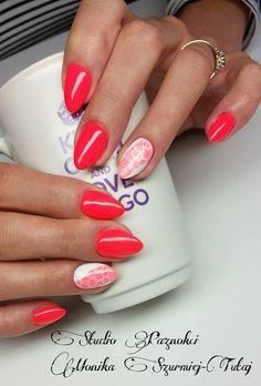 by Monika Szurmiej Tutaj Indigo Young Team :) Manicure Nail Designs, Nail Manicure, Nail Polish, Glam Nails, Red Nails, Indigo Nails, Light Nails, Shellac Nails, Almond Nails