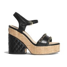 413b7ffc08 Lambskin Black Sandals | CHANEL Black Sandals, Wedges, Chanel, Shoes,  Fashion,