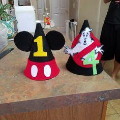 Felt party hats handmade for Mickey Mouse and Ghostbusters  party c289b72dc7e