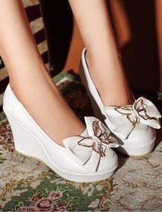 Wedge-heeled Shoes-cute butterfly