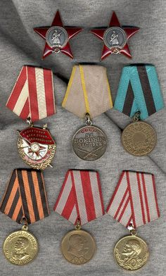 Vasily Alekseevich Abramov- Order of the Red Banner, Two Orders of the Red Star, Combat Service, Belgrade Liberation Medal, Victory over Germany in WW2, 30 Years of Red Army,  and 40 Years of Red Army.