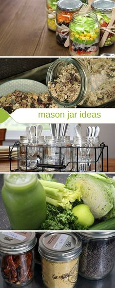 Ways to use mason jars for food in the kitchen.