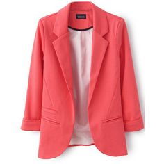 LUCLUC Watermelon Boyfriend Ruched Pockets 3/4 Sleeve Blazer