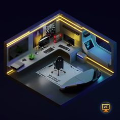 Space Room This project was a bit different, I really enjoyed it! In collaboration with Everything done in Blender! Gamer Bedroom, Bedroom Setup, Gaming Desk Setup, Computer Setup, Instagram Spaces, Futuristic Interior, Video Game Rooms, Isometric Design, Game Room Design